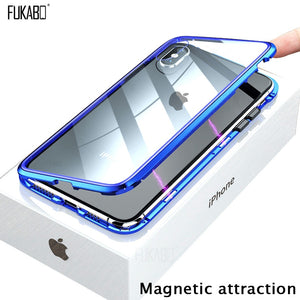 Magnetic Attraction Case For iPhone 11 X Xr Xs Max 6 6s 7 8 Plus Shockproof Case For iPhone 11 Pro Max Tempered Glass Back Cover - Amzon World