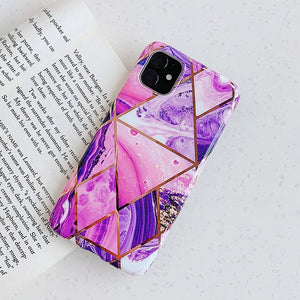 N1986N Plating Marble Case For iPhone 11 Pro Max X XR Xs Max Luxury Phone Case For iPhone 6 6s 7 8 Plus Fashion IMD Full Cover - Amzon World