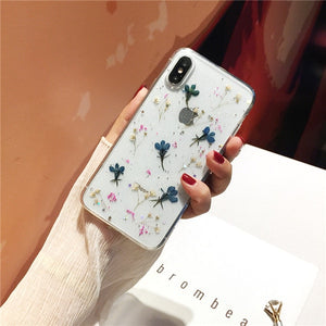 Qianliyao Real Dried Flowers Transparent Soft Cover For iPhone X 6 6S 7 8 Plus 11 Pro Max Phone Case For iphone XR XS Max Cover - Amzon World
