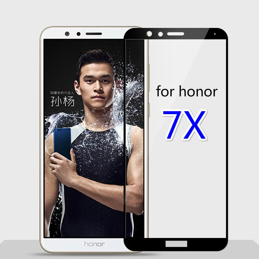 full cover Screen Protector Toughened Glass For Huawei honor 7x 9H Tempered glass For honor 7 X screen protective 7x black white - Amzon World