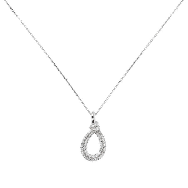 ONCE UPON A TIME WHITE DREAM CZ GEMSTONE KNOT PENDANT W/ 47CM NECKLACE - WSBC00019