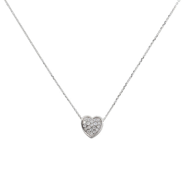 ONCE UPON A TIME WHITE DREAM D/C SMALL CHAIN ADJUSTABLE NECKLACE WITH PENDANT HEART CZ GEMSTONES - WSBC00044