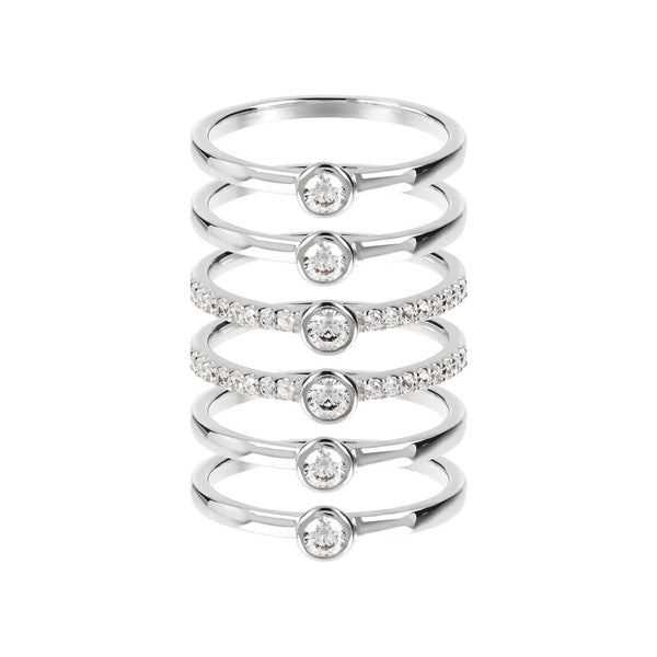ONCE UPON A TIME WHITE DREAM BIANCA MILANO SET OF 6 RINGS W/ CZ GEMSTONE - WSBC00016 setting