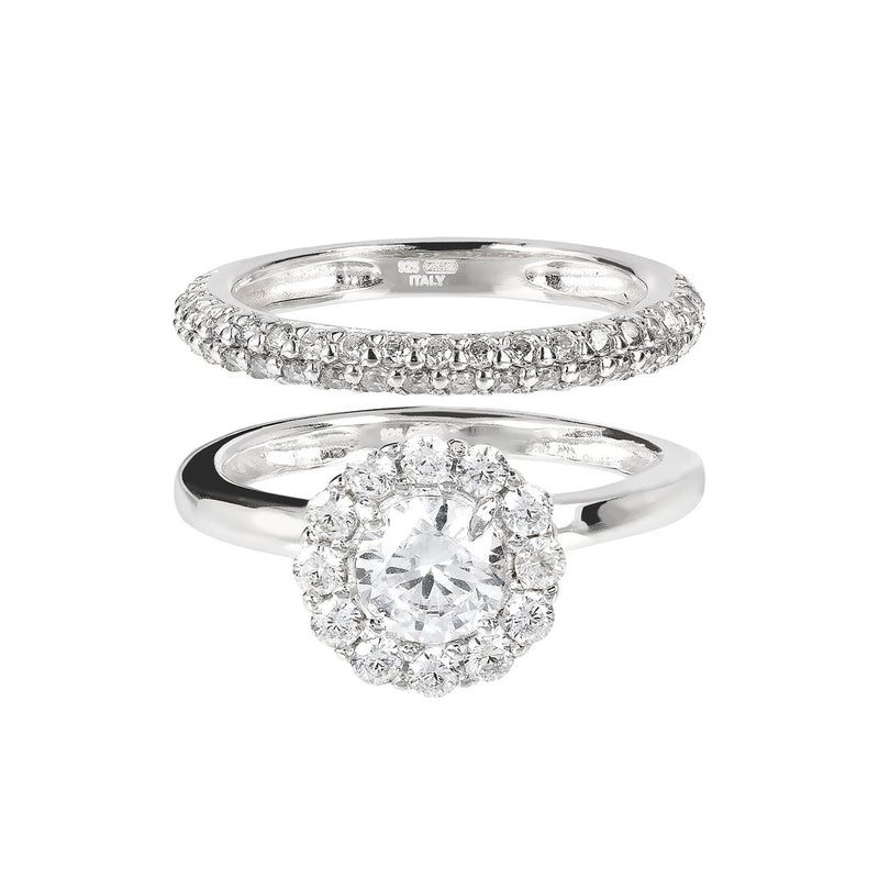 ONCE UPON A TIME WHITE DREAM BIANCA MILANO SET OF 2 RINGS W/ CZ GEMSTONE - WSBC00023 setting