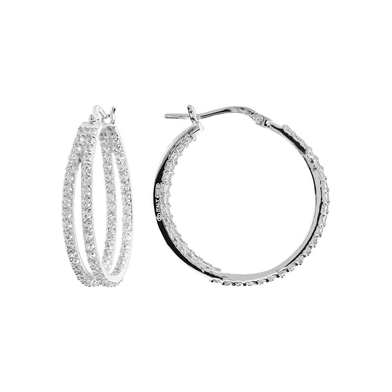 ONCE UPON A TIME WHITE DREAM BIANCA MILANO ROUND HOOP EARRINGS W/ CZ GEMSTONE - WSBC00028 front and side