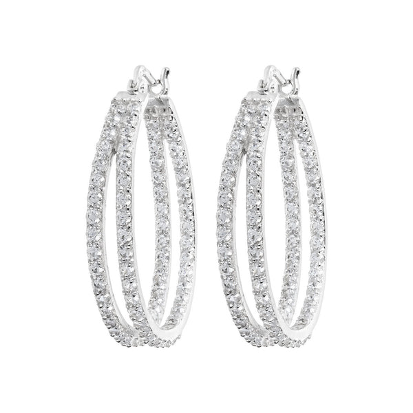 ONCE UPON A TIME WHITE DREAM BIANCA MILANO ROUND HOOP EARRINGS W/ CZ GEMSTONE - WSBC00028