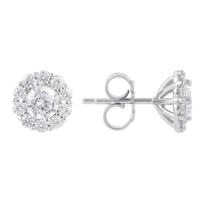 ONCE UPON A TIME WHITE DREAM BIANCA MILANO BUTTON  EARRINGS W/ CZ GEMSTONE - WSBC00030 front and side