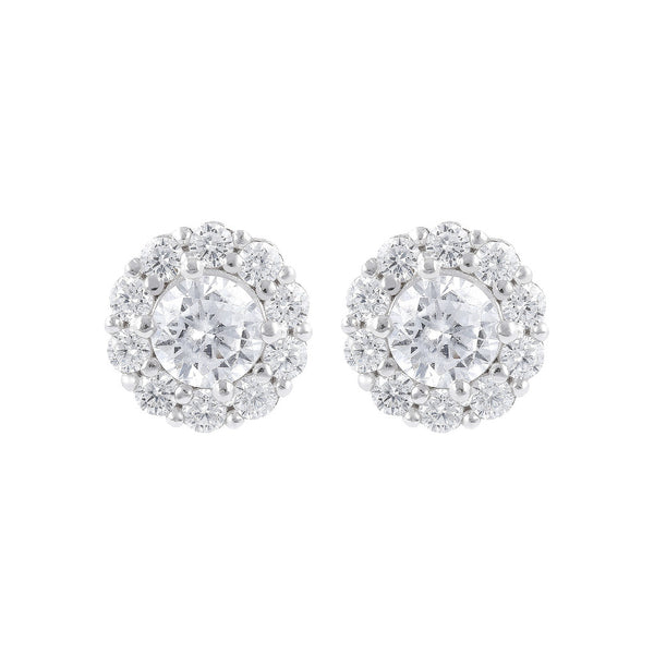 ONCE UPON A TIME WHITE DREAM BIANCA MILANO BUTTON  EARRINGS W/ CZ GEMSTONE - WSBC00030