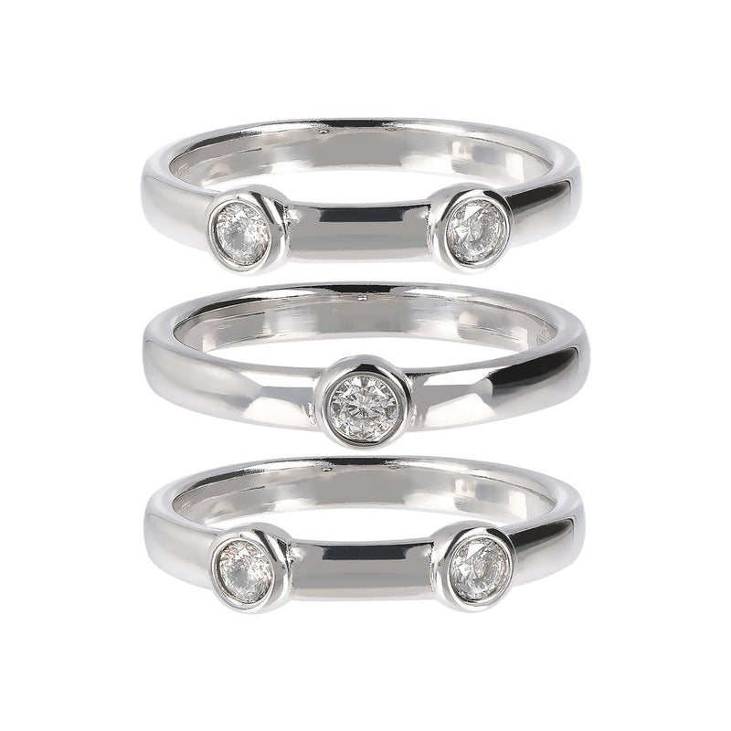 ONCE UPON A TIME WHITE DREAM SET OF 3 STACK RING W/ CZ - WSBC00181 setting