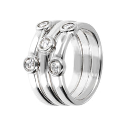 ONCE UPON A TIME WHITE DREAM SET OF 3 STACK RING W/ CZ - WSBC00181