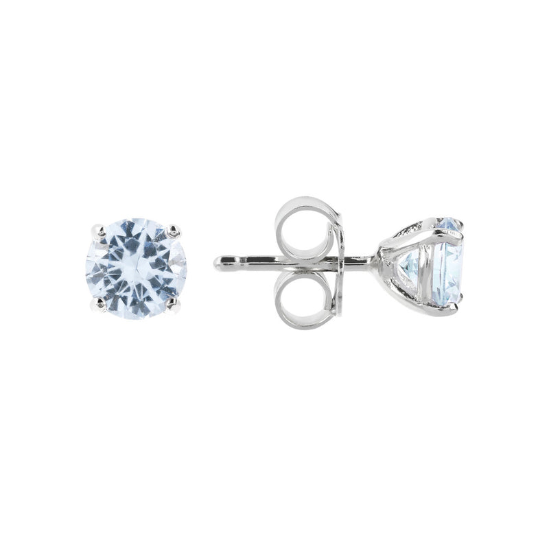 Coloured single-stone earrings LIGHT BLUE CUBIC ZIRCONIA front and side
