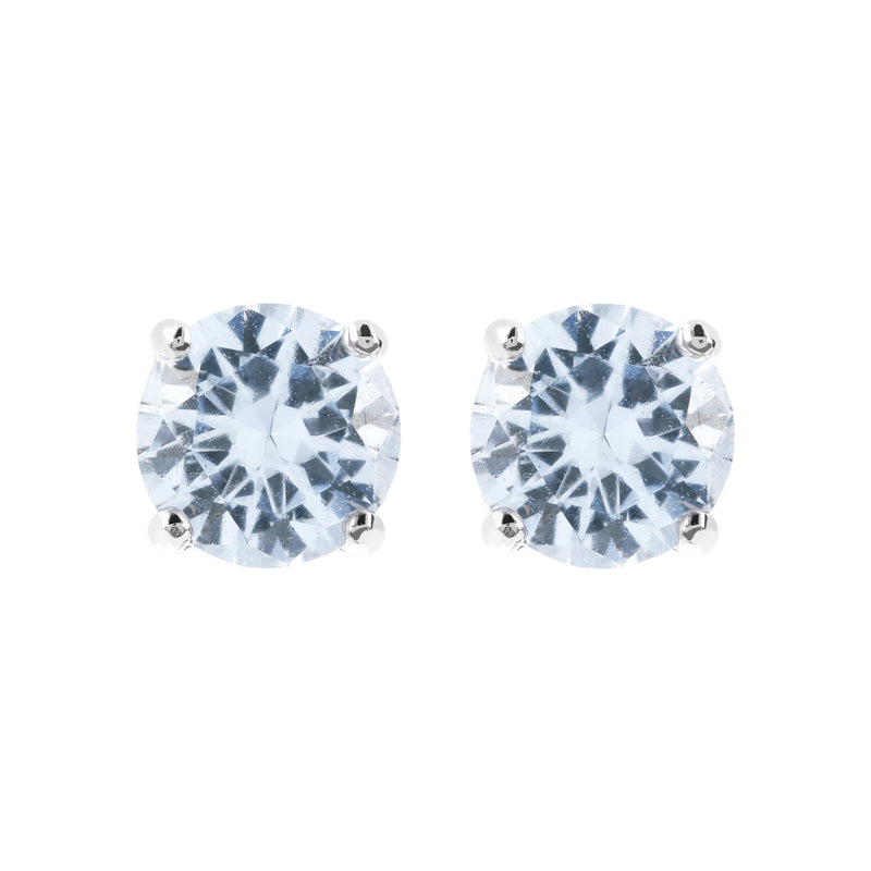 Coloured single-stone earrings LIGHT BLUE CUBIC ZIRCONIA