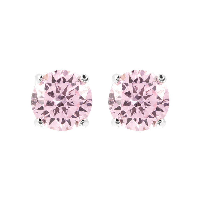 Coloured single-stone earrings PINK CUBIC ZIRCONIA