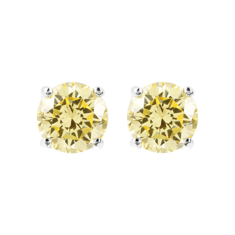 Coloured single-stone earrings YELLOW CZ