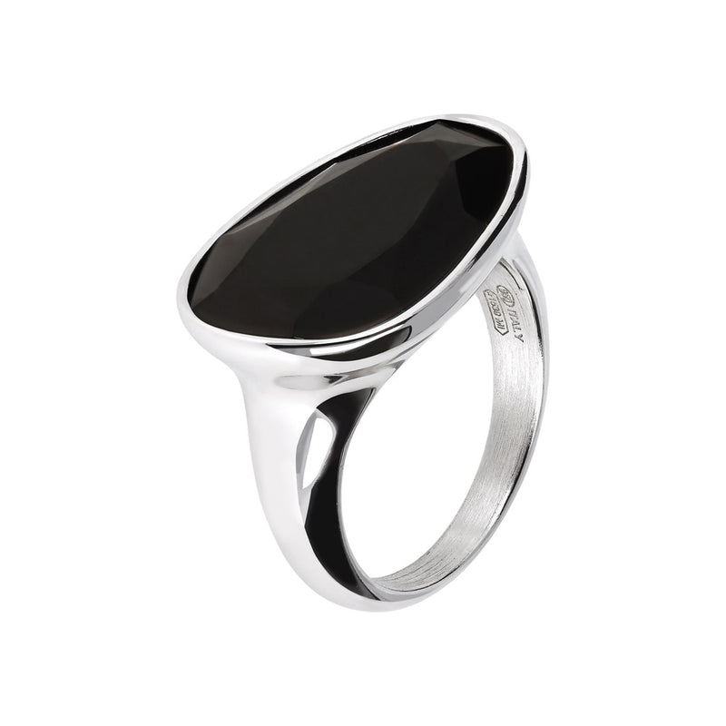 SPICE IT UP GLAMLINE  RING W/ FACETED BLACK SPINEL GEMSTONE - WSBC00213