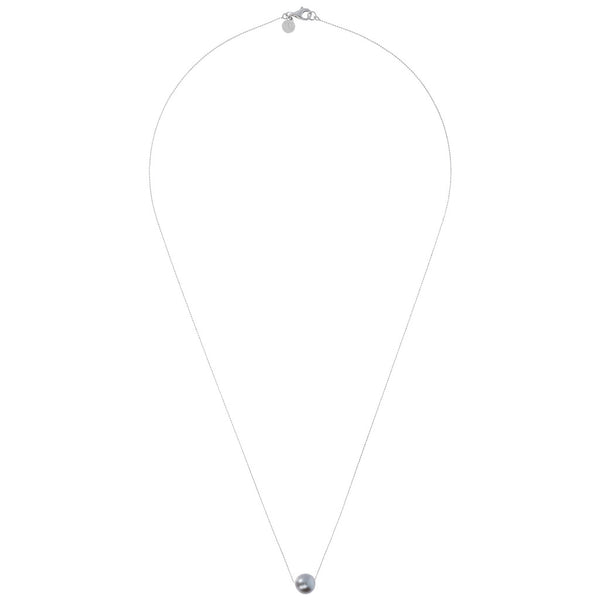 Long necklace with a fresh-water pearl  from above