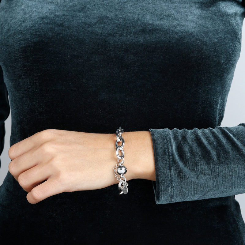 worn SUCH A PERFECT DAY MYESSENTIALS BIANCA MILANO ALTERNATED ROLO' BRACELET W/ MAGNETIC CLASP & SECURE CHAIN - WSBC00139