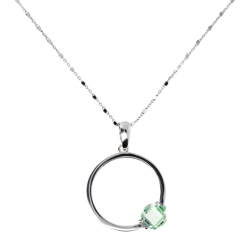 Necklace with a round pendant and Nano Gem Stone NANO GREEN AMETHYST