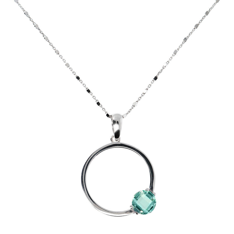 Necklace with a round pendant and Nano Gem Stone