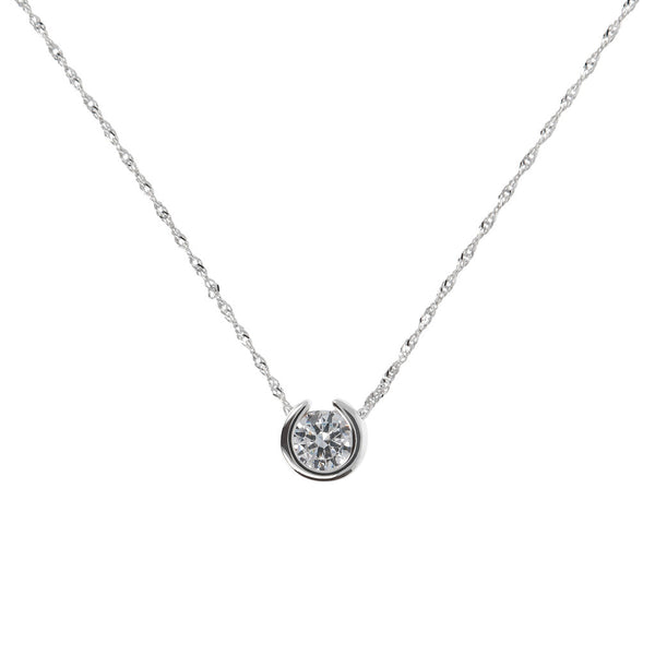 "ONCE UPON A TIME WHITE DREAM BIANCA MILANO POLISH SLIDING CZ  STONE PENDANT +18""CHAIN - WSBC00042"