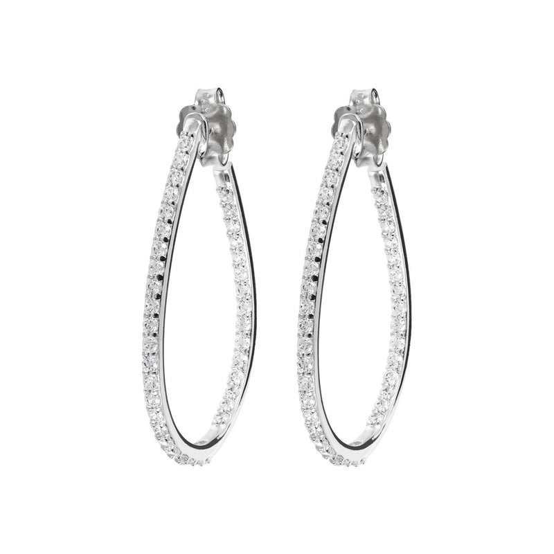 ONCE UPON A TIME WHITE DREAM  CZ GEMSTONE HOOP EARRINGS - WSBC00092