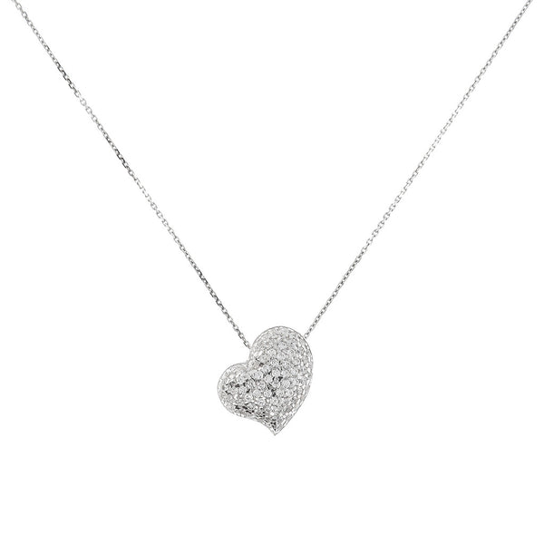 ONCE UPON A TIME WHITE DREAM FORZATINA  NECKLACE WITH SLIDE HEART CZ GEMSTONES - WSBC00043