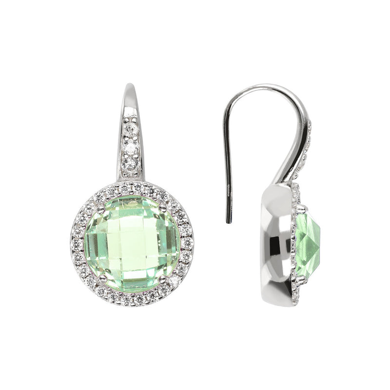 OVER THE RAINBOW PRISMA GEMSTONE EARRING - WSBC00194 NANO GREEN AMY+WHITE CZ front and side