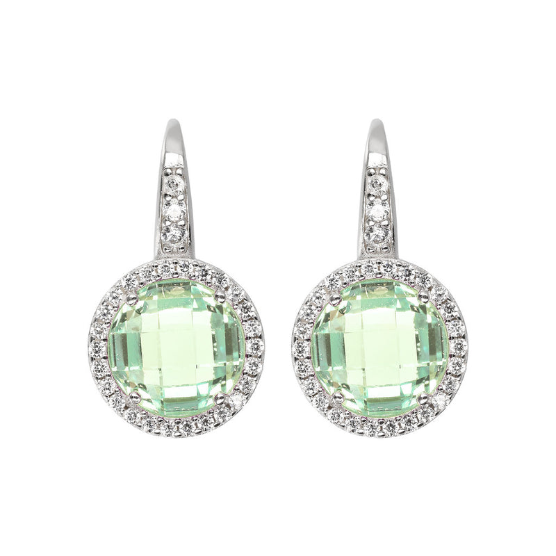 OVER THE RAINBOW PRISMA GEMSTONE EARRING - WSBC00194 NANO GREEN AMY+WHITE CZ