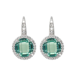 OVER THE RAINBOW PRISMA GEMSTONE EARRING - WSBC00194 NANO GREEN QTZ+WHITE CZ