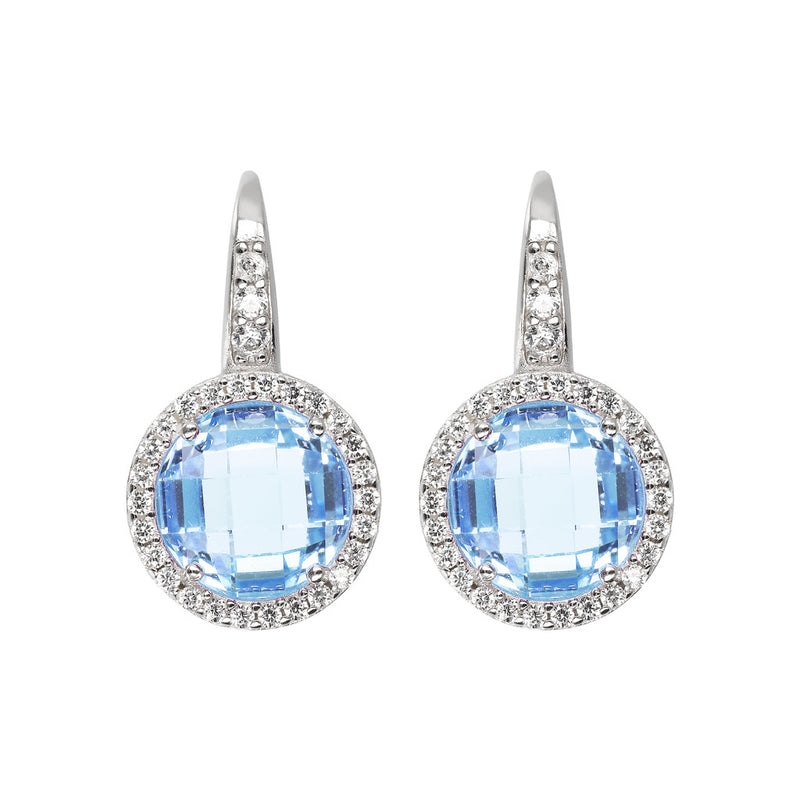 OVER THE RAINBOW PRISMA GEMSTONE EARRING - WSBC00194 NANO LIGHT BLUE+WHITE CZ