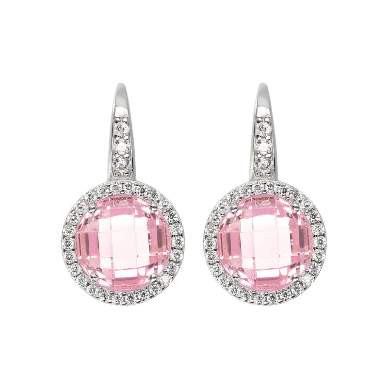 OVER THE RAINBOW PRISMA GEMSTONE EARRING - WSBC00194 NANO LIGHT PINK+WHITE CZ