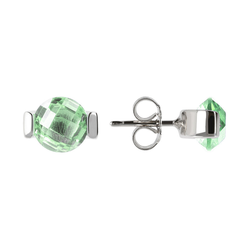 OVER THE RAINBOW PRISMA GEMSTONE EARRING - WSBC00196 NANO GREEN AMETHYST front and side
