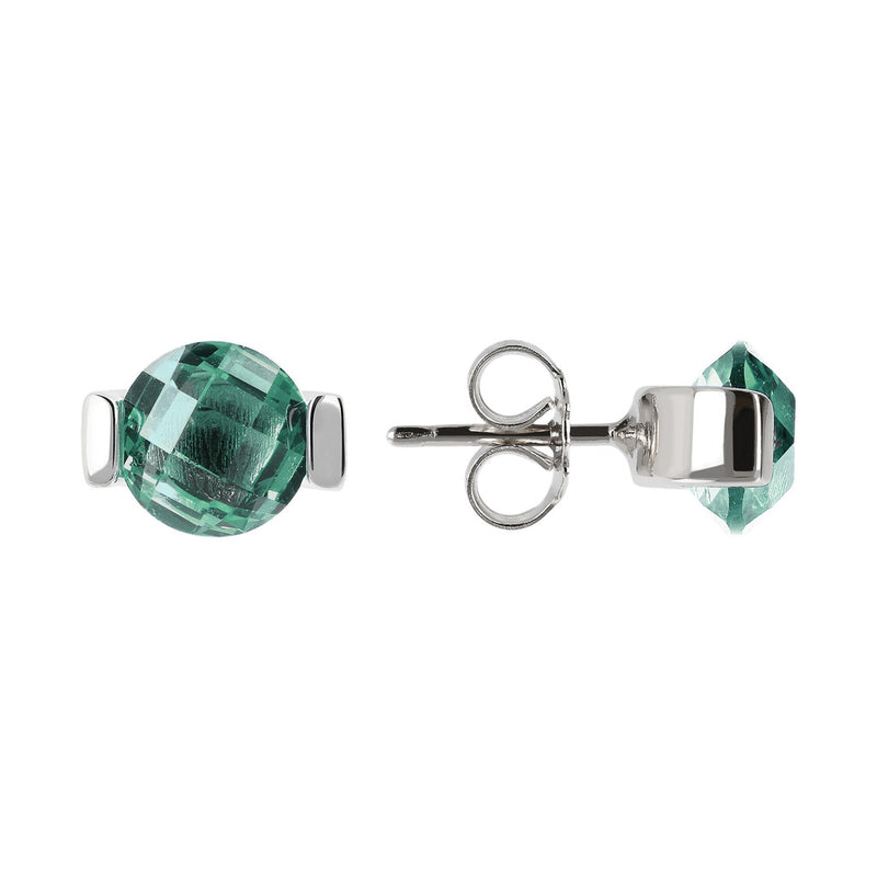 OVER THE RAINBOW PRISMA GEMSTONE EARRING - WSBC00196 NANO GREEN QUARTZ front and side