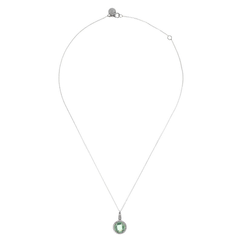 OVER THE RAINBOW PRISMA GEMSTONE PENDANT - WSBC00193 NANO GREEN AMY+WHITE CZ side