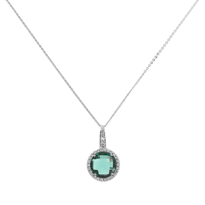 OVER THE RAINBOW PRISMA GEMSTONE PENDANT - WSBC00193 NANO GREEN QTZ+WHITE CZ