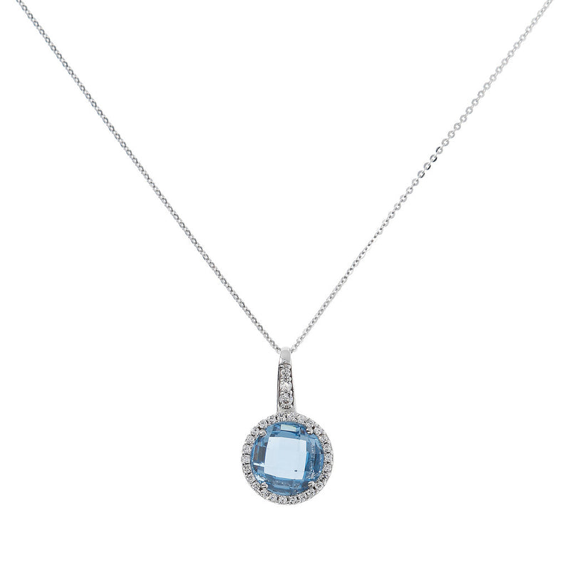OVER THE RAINBOW PRISMA GEMSTONE PENDANT - WSBC00193 NANO LIGHT BLUE+WHITE CZ