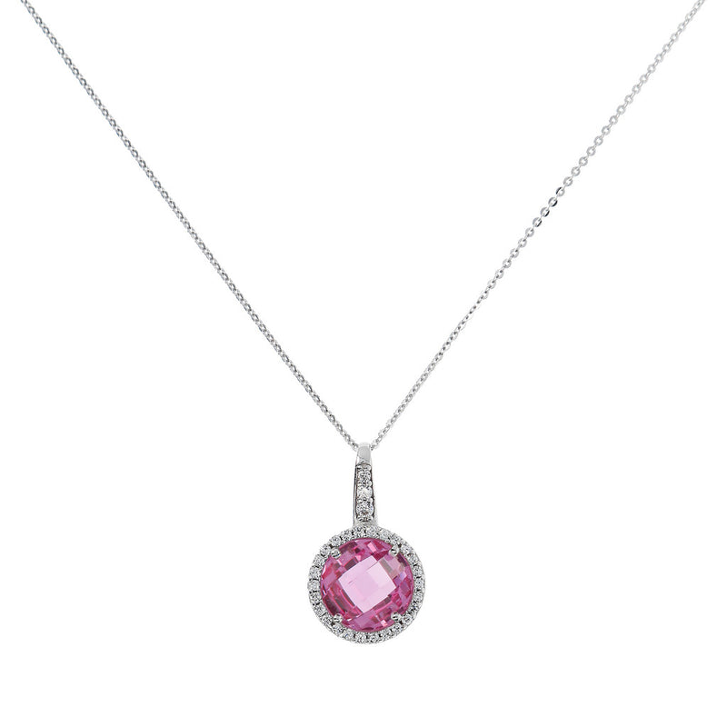 OVER THE RAINBOW PRISMA GEMSTONE PENDANT - WSBC00193 NANO LIGHT PINK+WHITE CZ