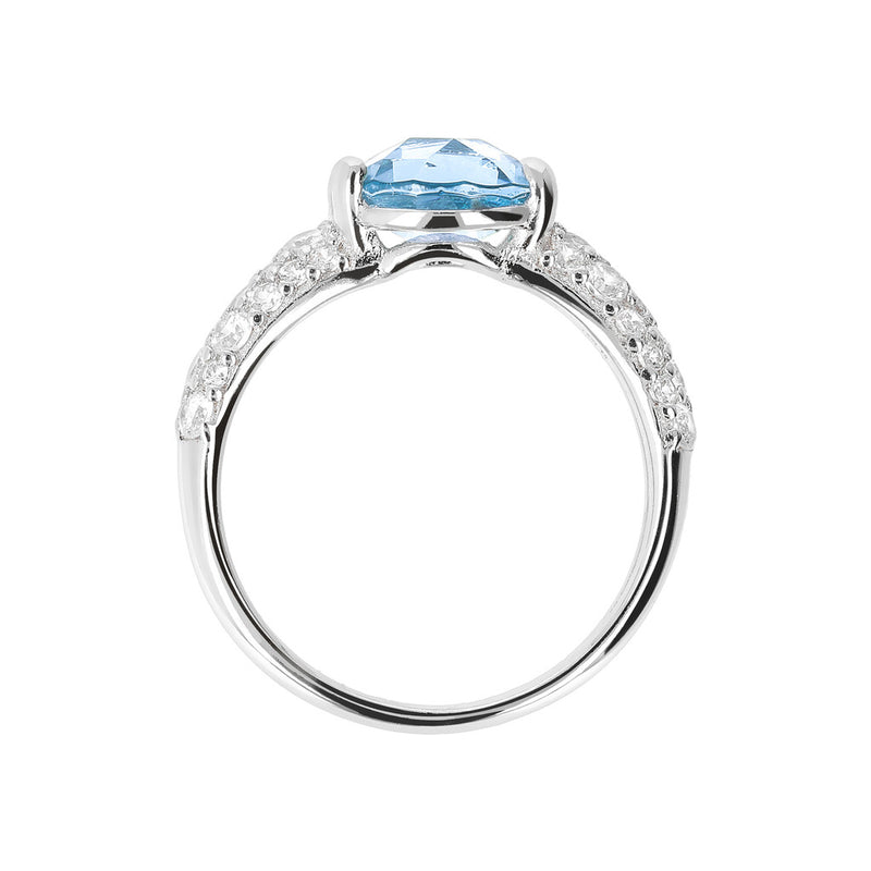 OVER THE RAINBOW PRISMA SHINY ROUND  GEMSTONE RING - WSBC00052 NANO SWISS BLUE+WHITE CZ setting