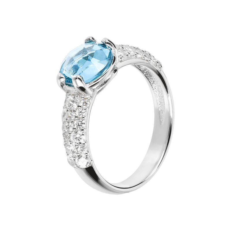 OVER THE RAINBOW PRISMA SHINY ROUND  GEMSTONE RING - WSBC00052 NANO SWISS BLUE+WHITE CZ