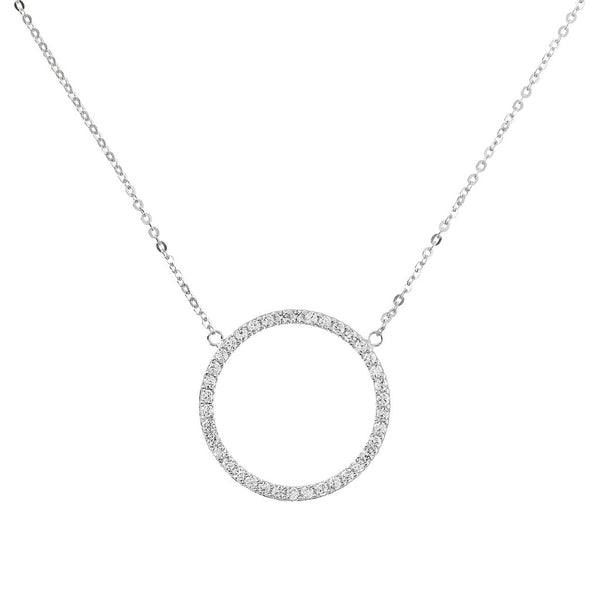 ONCE UPON A TIME WHITE DREAM  47CM ROLO NECKLACE W/ ROUND CZ GEMSTONE ELEMENT - WSBC00024