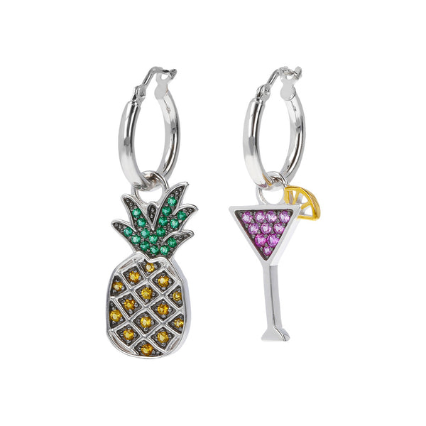 RWA FOR BIANCA MILANO SHINY HOOP EARRINGS WITH STAR FISH CHARM CZ GEMSTONE  - ANANAS-COCKTAIL - WSBC00257
