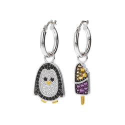 RWA FOR BIANCA MILANO SHINY HOOP EARRINGS WITH STAR FISH CHARM CZ GEMSTONE  - PENGUIN - ICE CREAM - WSBC00257