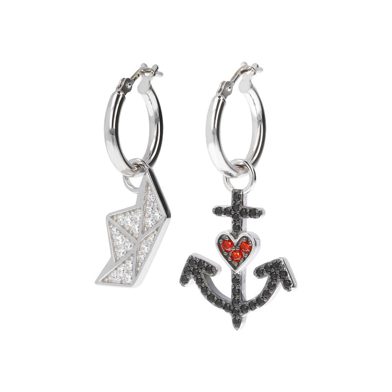 RWA FOR BIANCA MILANO SHINY HOOP EARRINGS WITH STAR FISH CHARM CZ GEMSTONE  - SEA BOAT - ANCHOR - WSBC00257