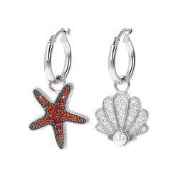 RWA FOR BIANCA MILANO SHINY HOOP EARRINGS WITH STAR FISH CHARM CZ GEMSTONE  - STARFISH - SEASHELL - WSBC00257