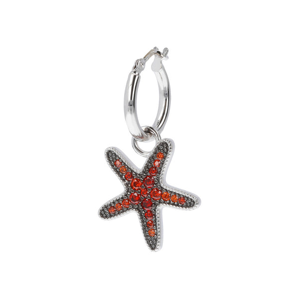 RWA FOR BIANCA MILANO SHINY HOOP EARRINGS WITH STAR FISH CHARM CZ GEMSTONE  - STARFISH - WSBC00261