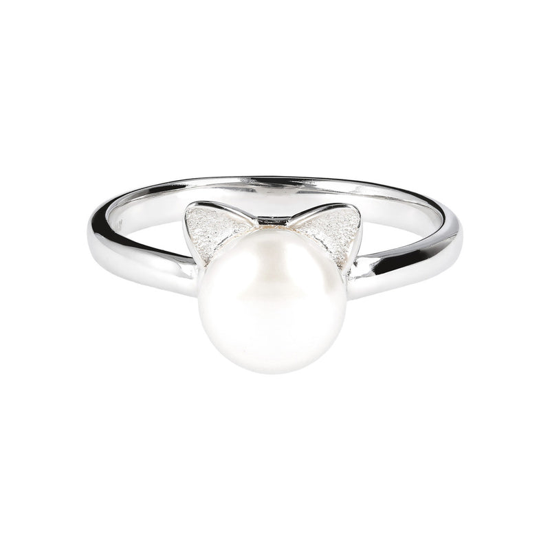 Ring with Cat Ears with a Pearl in the Centre setting
