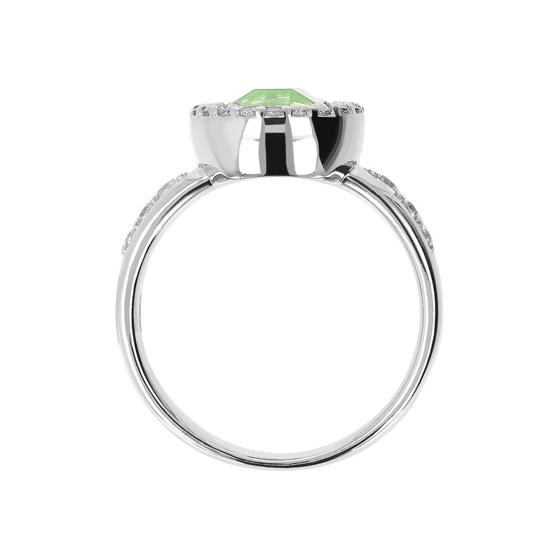 Ring with a Coloured Round Stone and CZ NANO GREEN AMY+WHITE CZ setting