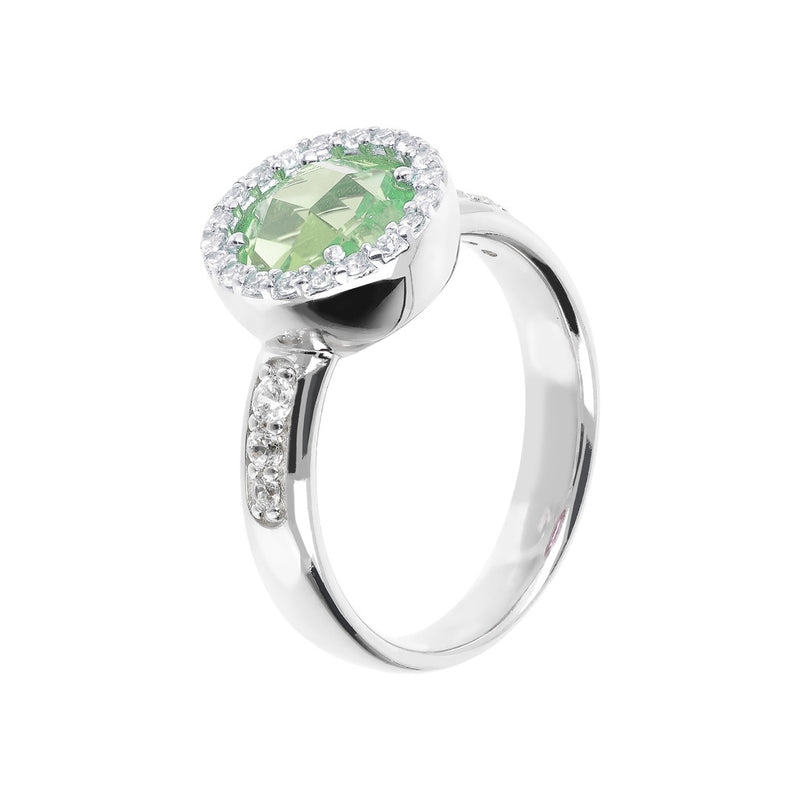 Ring with a Coloured Round Stone and CZ NANO GREEN AMY+WHITE CZ
