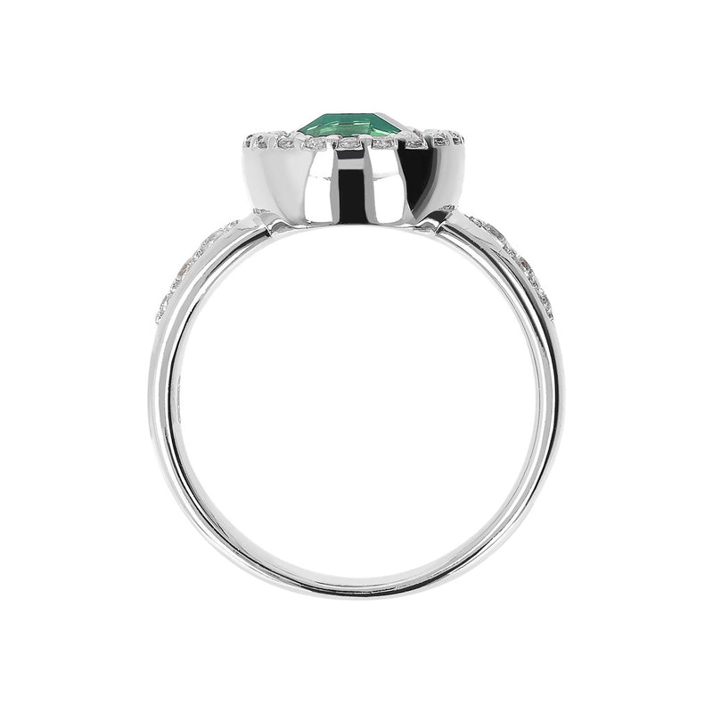 Ring with a Coloured Round Stone and CZ NANO GREEN QTZ+WHITE CZ setting