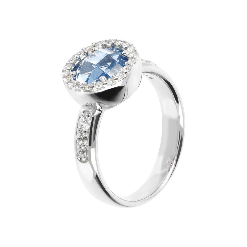 Ring with a Coloured Round Stone and CZ NANO LIGHT BLUE+WHITE CZ